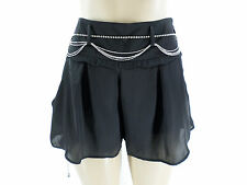 New BEBE Black Sexy Chiffon Shorts With Rhinestone Belt Side Pockets Sz 2 4 6 12