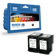 2 BLACK REMANUFACTURED HP OFFICEJET HIGH CAPACITY INK CARTRIDGES CC654AE HP901XL