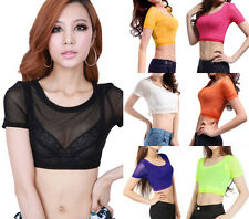 Sexy See Thru Colorful Gauze Mesh Sheer Plain Stretchy Cropped Top Blouse Club