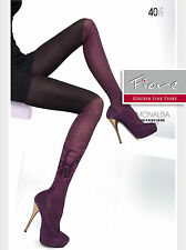Fiore Mona Lisa Portrait Patterned Tights 40 Denier Microfibre Over Knee Effect