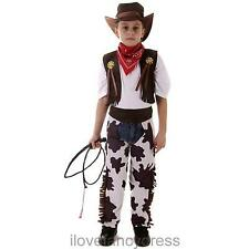 BOYS COWBOY COSTUME CHILDRENS WILD WEST WESTERN FANCY DRESS OUTFIT 3 - 12 YEARS