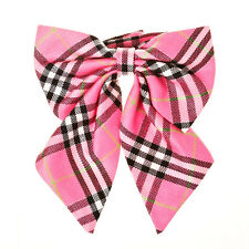 Womens Ladies Tartan Check Plaid Ribbon Bow Tie Schoolgirl Preppy Look