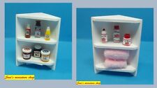 12th scale dolls house miniature white corner shelf  dressed 2 scenes O.O.A.K.