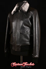 Men's G-1 BLACK Bomber Top Gun G1 Pilot Aviator Cowhide Leather Classic Jacket