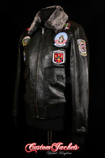 Men's TOP GUN BLACK G-1 Bomber Fighter Pilot Aviator Cowhide Leather Jacket