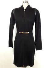 Calvin Klein NEW Black Belted Sweater, zipper front and leather trim size S,M,L