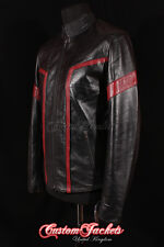 Men's TRON Black With RED Stripes New Real Lambskin Soft Leather Jacket
