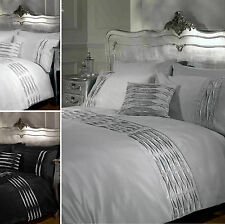 LUXURY CRYSTAL DIAMANTE DUVET COVER – Pintuck Contemporary Bedding Bed Set