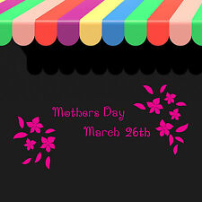 Mothers Day Shop Window Sticker 2015 Restaurant Florist Decoration