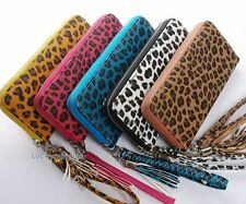 1PC in Leopard Print Lady Zipper Around Long Wallet Coin Checkbook Coin Bag