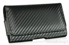 New Luxmo Black Carbon Fiber Belt Clip Holster Pouch Case for Cell Phones