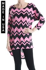 WOMEN HIGH & LOW DOUBLE CHEVRON PRINT TOPS - MADE IN USA (MORE SHADES)