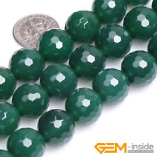 Natural Green Agate Gemstone Faceted Round Beads For Jewelry Making Strand 15 ""