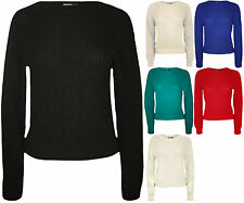 New Womens Knitted Crop Fisherman Jumper Ladies Long Sleeve Short Net Top 8 - 14