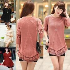 New Women Lace Hem Loose Knitted Jumper Sweater Crew Neck Pullover Outwear Top
