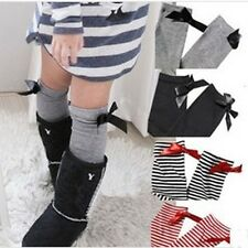 Kids Baby Girls Colorful Bowknot Stripes In tube Socks High Tights Stocking 1-8Y