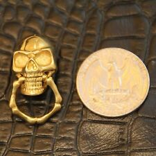 Vintage Solid Brass Slide-Skull-O-Ring Screwback Wallet-Chain-Accessary