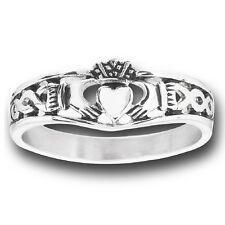 New Ladies Stainless Steel Claddagh Celtic Thin Band Ring - Sizes 5-10