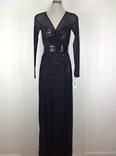 Vicky Tiel NWT Red Carpet  Black Long Formal Sequin  Dress , front opening