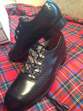EDGAR OF SCOTLAND ATHOLL GHILLIE BROGUES STRUAN BLACK LEATHER NEW RETAIL $138