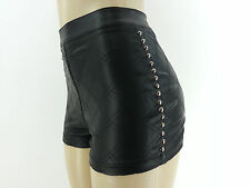 NWT High Waisted FOREVER 21 Faux Leather Studs Shorts Pleather Hot Mini BLACK
