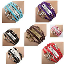 Hot Sell One Direction Love Heart Hand-knitted Leather Charms Bracelet 10 Colors