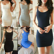 Slim Women Scoop Neck Backless Bodycon Party Mini Dress Spaghetti Skirt 5 Colors