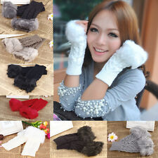Hot! Lady Womens Arm Warmer Faux Fur Knitted Fingerless Long Gloves Mittens