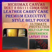 BELT CASE for MICROMAX CANVAS DUET 2 EG111 CDMA GSM LEATHER CARRY POUCH COVER