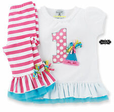 Mud Pie Baby Girls Birthday Party I am One Tunic & Striped Leggings Set 12-18M