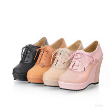 Womens Ladies Shoes Wedge Platform High Heels Lace Up Ankle Bootie AU Size