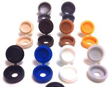 SMALL LARGE HINGED SCREW COVER CAPS PACKS 25 50 100 COLOURED Gauge No. 6 8 10 12