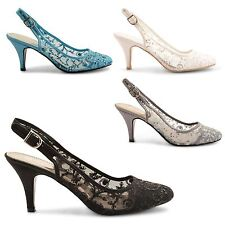 WOMENS LADIES WEDDING PEEPTOE PARTY STILETTO LOW HEEL EVENING SANDALS SHOES SIZE