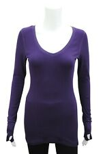 Womens T-shirt top Long Sleeve brand new Size 6 - 24 Violet with Thumb hole