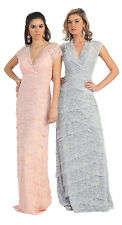 New Short Sleeve V Neck Layered Lace Long Floor Length MOB Plus Size Formal Gown