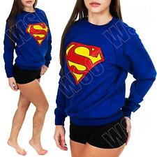 New Ladies Womens Superman Logo Print Fleece Sweatshirt Top Jumper Size S M 8 14