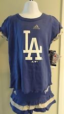 NWT Adidas Los Angeles Dodgers Little Girls Ruffled Skirt & Top Set:  4-6X