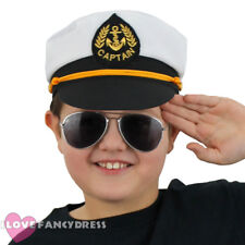 CHILDS SEA CAPTAIN HAT SAILOR FANCY DRESS COSTUME ACCESSORY NAVAL OFFICER MARINE