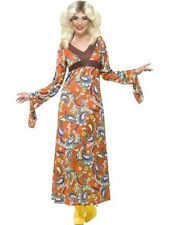 Adult 60s 70s Woodstock Maxi Dress Ladies Fancy Dress Hen Party Costume Outfit