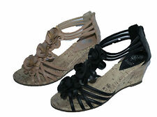 "LADIES BLACK AND CAMEL 2"" FAUX CORK WEDGE SANDAL WITH ZIP AND FLOWER TRIM 3-8"