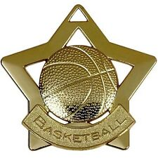 60mm Mini Star Basketball Medal with ribbon,Gold,Silver or Bronze