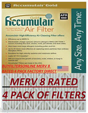 4 MEDIUM SIZE ACCUMULAIR GOLD MERV 8 HOME FURNACE AIR FILTERS PLEATED ALLERGEN