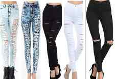 New! High Waisted ACID Mineral Light Wash Distressed Skinny Denim Jean Pants