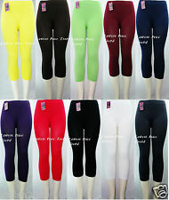Plain Stretch CAPRI LEGGINGS Skinny FOOTLESS Pant ONE SIZE(fits S,M,L,XL) EX901