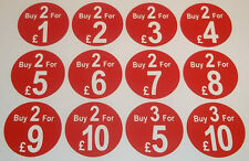 Buy 2 for £5 Butchers Promotional Stickers Tags 12 Price Labels In 6 Sizes