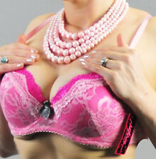 Extra Lacy PINK lined Cup underwire VERY SEXY demi Bra BNWT 34 36 B C