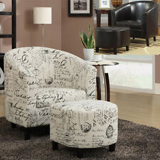 COMFORTABLE 2 PC French Script Fabric Leatherette Vinyl Accent Chair Ottoman Set