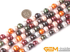 """Round Mixed Color Cultured Freshwater Pearl Jewelry Making gemstone beads 15"""""""