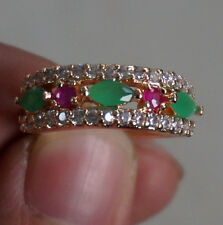 GENUINE RED RUBY & EMERALD 925 SILVER RING SIZE 5.5:6.5:7.5 GOLD PLATED Hq