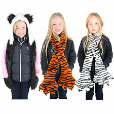 Kids Boys Girls Childrens Animal Hats and Scarves Tiger, Snow Tiger or Panda New